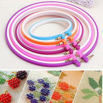Plastic Cross Stitch Machine Adjustable Embroidery Hoop Ring Sewing Nice