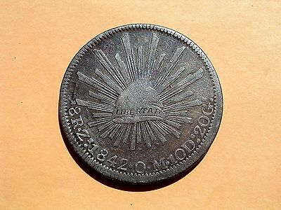 Mexico 1842 Zs Om Silver Cap & Rays 8 Reales ~ Cool Old Bird ~ No Reserve!