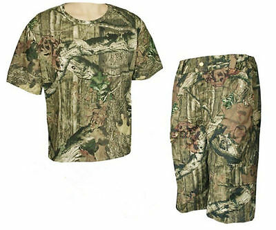 Hunting Bionic Camouflage Real Tree Cotton Short Sleeve T-shirt Pants for Summer