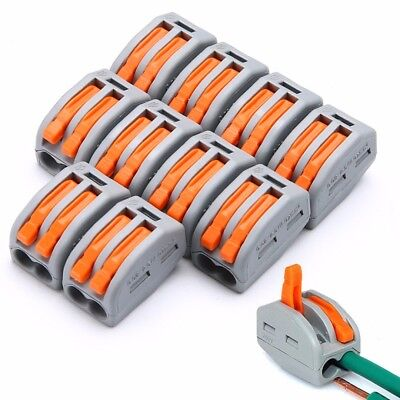 10pcs 2 Way  Reusable Spring Lever Terminal Block Electric Cable Connector Wire