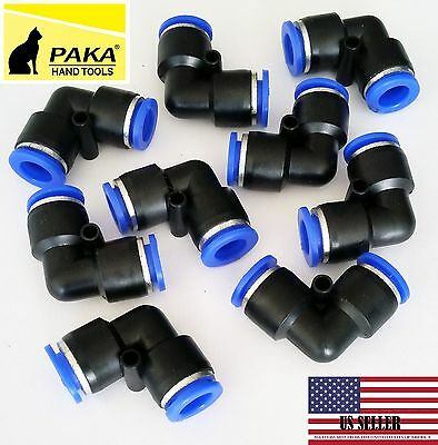 6 PC Tube OD 8mm 5/16''  Elbow Union Pneumatic Quick Connector Air Fittings Pus
