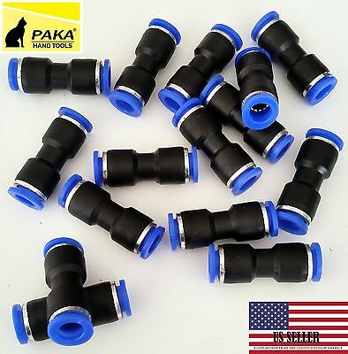 "10 Pcs Air Pneumatic 1/4"" to 1/4""- 6mm to 6mm Straight Push in Connectors Quick"