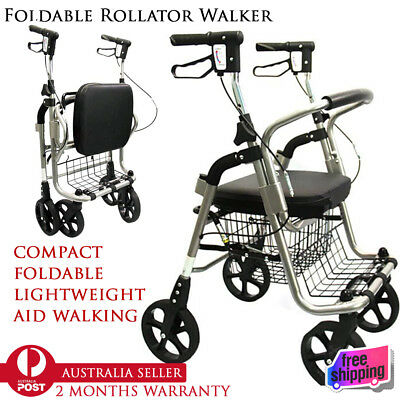 2017 Rollator Walker Walking Frame Foldable Mobility Aid Height Adjustable Seat