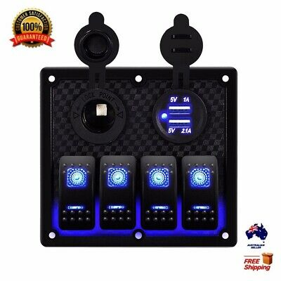 4 Gang 12V Switch Panel Waterproof Dual USB Car Charge Toggle Rocker Marine Boat