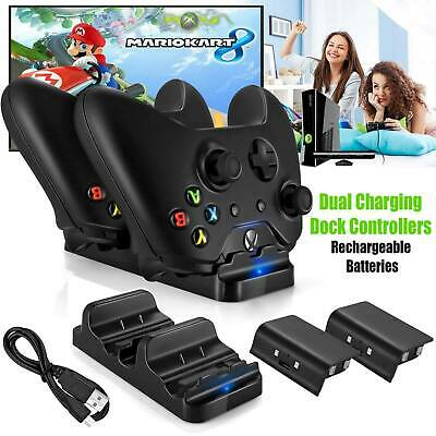 Dual Xbox Controller USB Charger Docking Station Charging Stand + 2 Batteries UK
