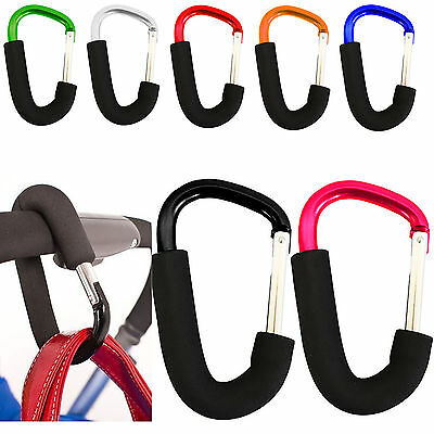Buggy Clips Coloured Large Pram Pushchair Shopping Bag Hook Mummy Carry Clip