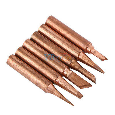 Fine 6pcs Copper Soldering Iron Tips 900M-T Lead Free Solder Welding Tools Set