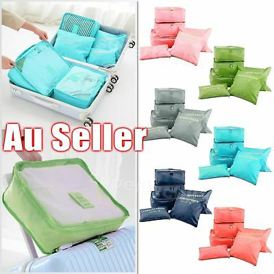 6 Pcs Clothes Underwear Socks Packing Cube Storage Travel Luggage Organizer Bag~