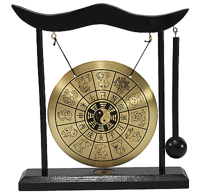 Zen Table Gong 12 Chinese Zodiac Feng Shui Meditation Desk Bell Home Decor Gift
