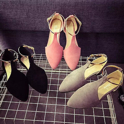 Women's Suede Flat Sandals T Straps Pointed Toe Shoes Ladies Casual Slippers
