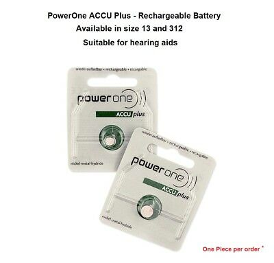 PowerOne ACCU Plus Rechargeable Battery (Size 13 & 312) - New