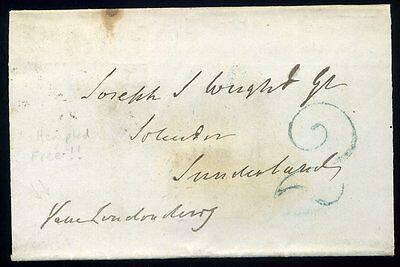 Irish: 1844 Newtonards to Sunderland via Carlise, Gatheshead H/s '2' in Green