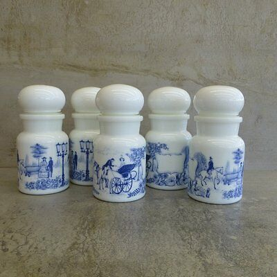 5 Retro Glass Storage Jars Bubble Lids Made in Belgium Apothecary Style 1970s