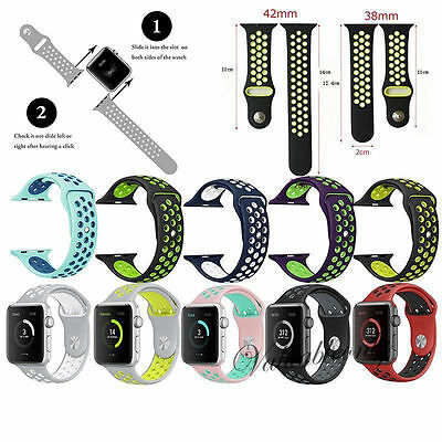 Replacement Silicone Rubber Sports Strap For Apple Watch Band Series 2/1