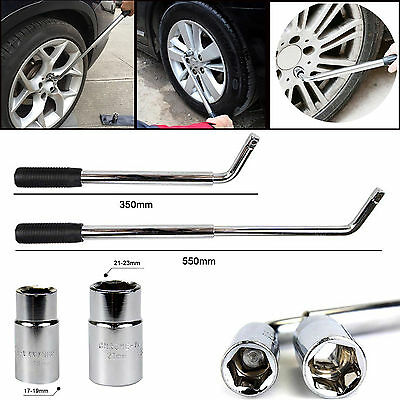 HEAVY DUTY Car VAN Telescopic Wheel Brace Socket Nut Tyre Wrench 17 19 21 & 23mm
