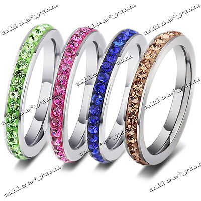 20pcs Wholesale Lots Colorful Rhinestone Stainless Steel Fashion Rings FREE
