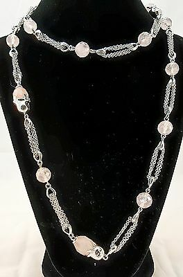 Stunning Sterling Silver (925) and Rose Quartz Chain Necklace