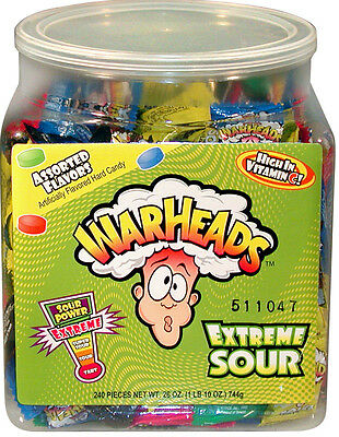 Warheads Tub American Import Extreme Sour Hard Candy 240 Pieces