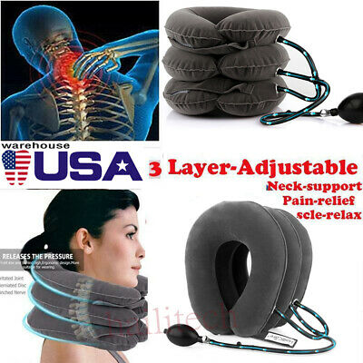 New Air Inflatable Cervical Neck Traction Device Shoulder Neck Pain Relief US