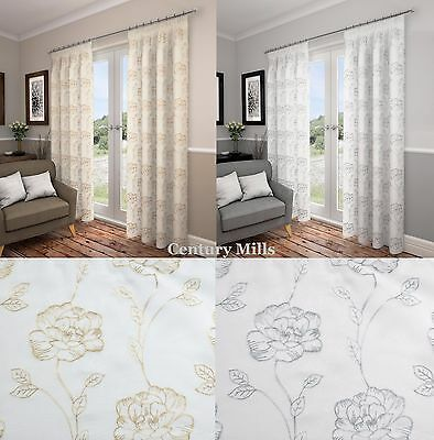 """Lotus,luxury Fully Lined Embroidered Voile 3"""" Tape Top Ready Curtains/drapes."""