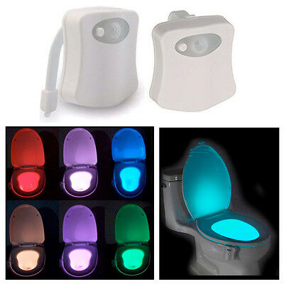 LED Motion Sensor Toilet Bowl Light 8 Color Changing Night Commode Seat Bathroom