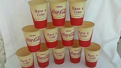 "Vintage 3.75"" Drink Coke Coca-Cola Soda Fountain 6 Ounce Paper Dixie Cup Set 12"