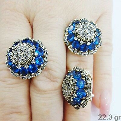 Sterling 925 Silver Turkish Jewelry Handmade Blue Sapphire Full Set