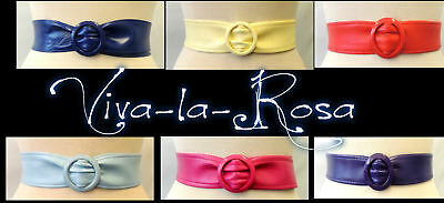 New Ladies Original Vtg 50's 60's Leather look Leatherette Cinch waist belt