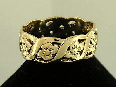 R009  Genuine SOLID 9ct Yellow Gold Blossom FULL-Eternity Ring size P - 6mm wide