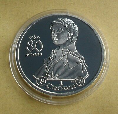2006 Isle Of Man 1 Crown Queen Elizabeth 80 Years Silver Proof Coin Portrait