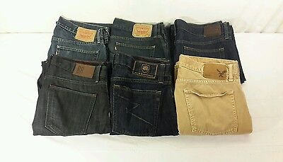 Lot of 6 Mens Designer Blue Jeans Levis American Eagle Banana Republic 34 x 34