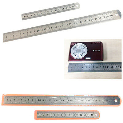 Stainless Steel Ruler 15cm/30cm Metric Scale Metal Measuring Ruler School Office