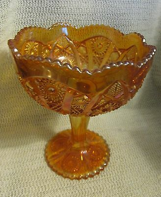 """#2. Vintage Imperial Marigold Carnival Glass 8"""" High """"hobstar"""" Compote Dish"""