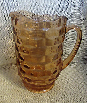 """American Whitehall Cube Pattern.. 8.5"""" Pink / Peach Tea Or Water Pitcher"""