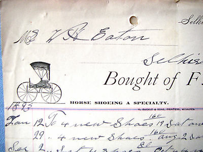 F BOOK SELKIRK Canada BLACKSMITH, HORSE SHOE,1893 Beautiful Vintage Letter Head