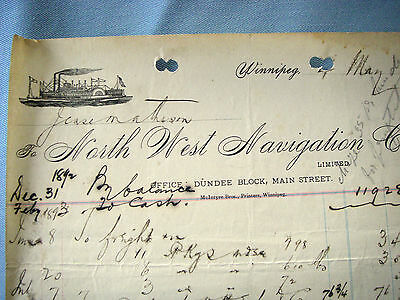 NORTH WEST NAVIGATION CO, WINNIPEG, CANADA, 1894, Beautiful Vintage Letter Head