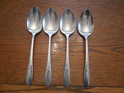 4 Community 1932 Lady Hamilton Pattern Table Serving Spoons Oneida Silverplate