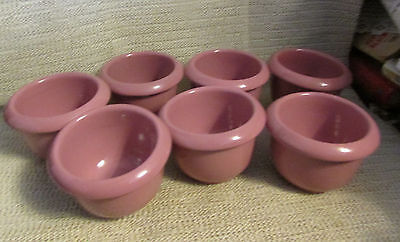 "Frankoma Pottery.. Sale Is For 6 - 3.5"" Dia Dusty Rose Pink Bean Pot Bowls Bp"