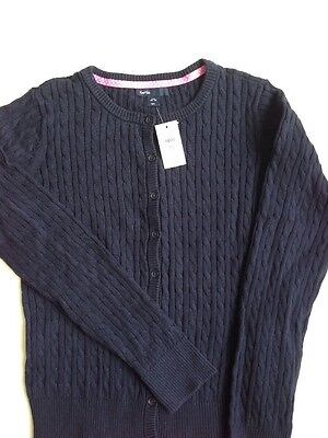 Girl's GAP KIDS Navy Blue Long Sleeve Cardigan Sweater Cotton Cable Knit XXL 14-