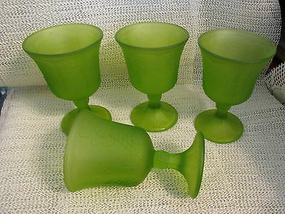 "Indiana Lime Green Satin Glass Harvest Grape .. 4 - 5.25"" Stem Tumblers Goblets"