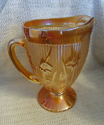 Jeannette Glass Marigold Carnival Iris & Herringbone 1930's 64 Oz Tea Pitcher