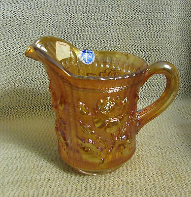 """Imperial Marigold Carnival Glass Lustre Rose.. 5.5"""" Tall Milk Cream Pitcher"""