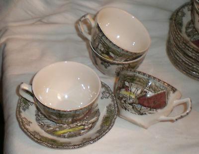Johnson Bros Friendly Village The Ice House ..4 Cups & 4 Saucers