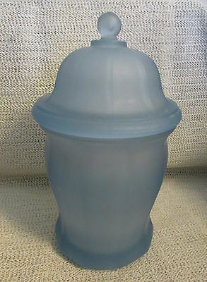 "Tiara Glass.. 10"" Frosted Blue Satin Canister Apothecary"