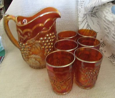 Set #2.. Imperial Marigold Carnival Glass Grapes & Cable 7 Pc Water Set.unmarked