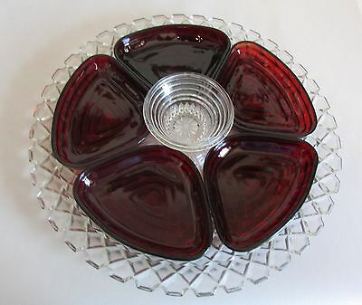Vintage 7 Pcs Anchor Hocking Ruby Red Manhattan Glass Lazy Susan Relish