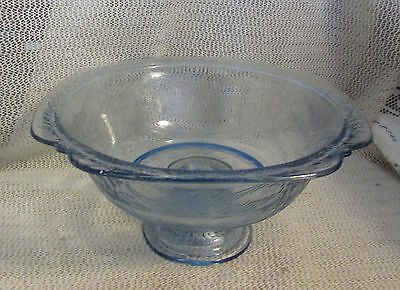 "Vintage Federal Madrid Indiana Glass.. 9.5"" Cobalt Blue Pedestal Serving Bowl"