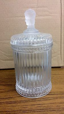 Vintage Three-Faced Frosted Glass Biscuit Jar Mma - 9.5 H X 4.5 Good Condition