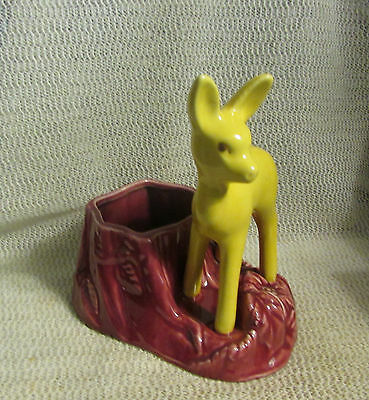 "Vintage Shawnee ..7"" High Yellow And Maroon Deer Planter..#624"