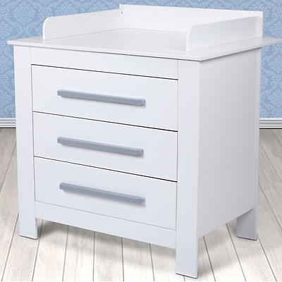 White Baby's Changing Unit With Three Drawers And Safety Edges Baby Furniture